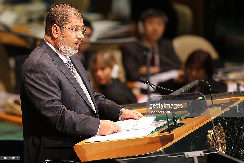 Egyptian President Mohammed Morsi addresses world leaders at the United Nations General Assembly on September 26, 2012 in New York City. Over 120 prime ministers, presidents and monarchs are gathering this week at the U.N. for the annual meeting. This year's focus among leaders will be the ongoing fighting in Syria, which is beginning to threaten regional stability.