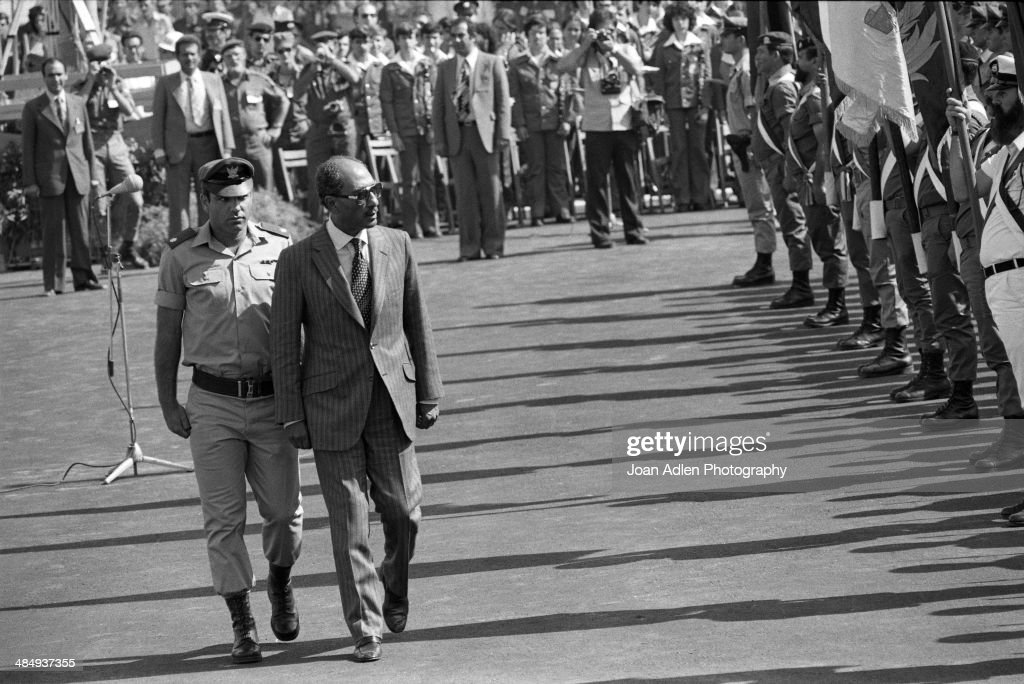 Egyptian President Muhammad Anwar El Sadat ceremonially inspects the troops before holding peace talks at Ben-Gurion University of the Negev on May 28, 1979 in Beersheba, Israel.