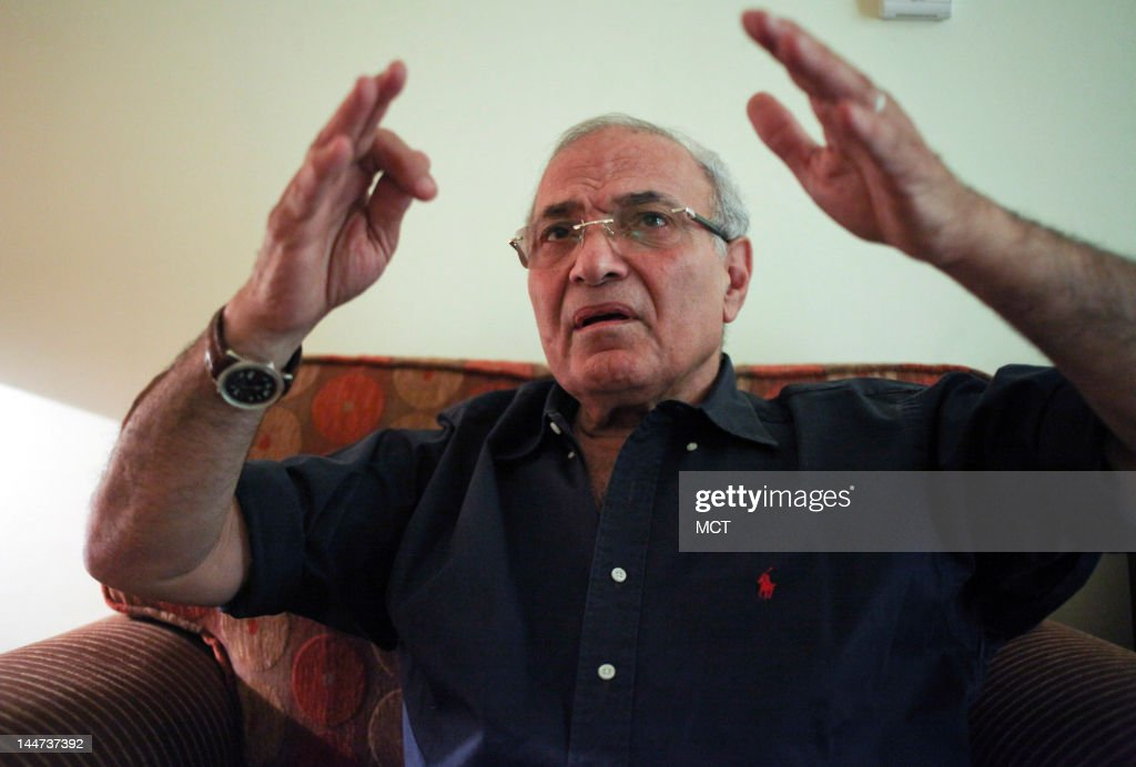 Egyptian presidential candidate Ahmed Shafik gestures during an interview in his hotel room during his campaign tour in the Upper Egypt city of Aswan, Thursday, May 17, 2012. Shafik is one of 13 candidates running in the first presidential race since Hosni Mubarak was ousted in February 2011. The first round of the elections will take place next week on May 23 and 24.