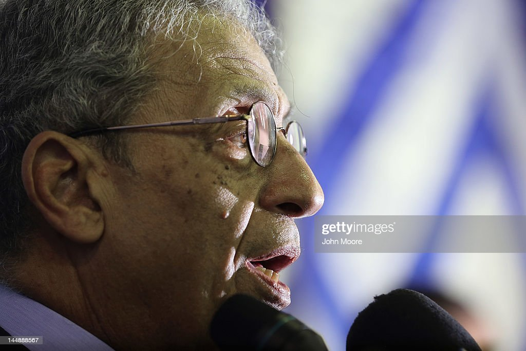 Egyptian presidential candidate <a gi-track='captionPersonalityLinkClicked' href=/galleries/search?phrase=Amr+Moussa&family=editorial&specificpeople=213955 ng-click='$event.stopPropagation()'>Amr Moussa</a> speaks to the media on his last day of campaigning on May 20, 2012 in Cairo, Egypt. A Foreign Minister under the government of former President Hosni Mubarak, Moussa is considered one of the leading candidates going into the May 23-24 presidential election.