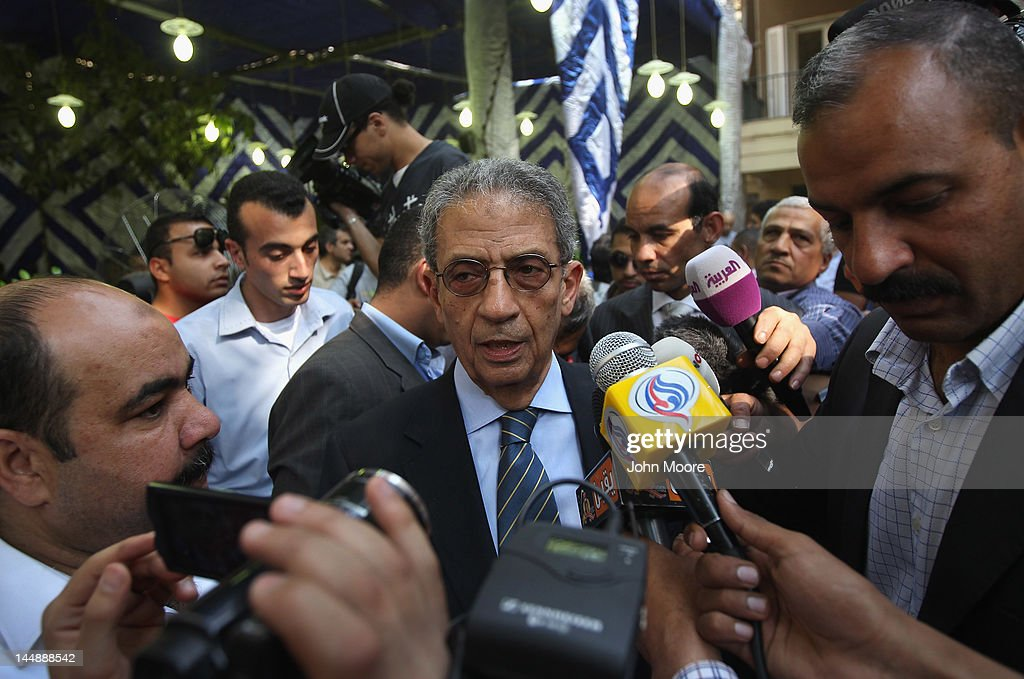 Egyptian presidential candidate <a gi-track='captionPersonalityLinkClicked' href=/galleries/search?phrase=Amr+Moussa&family=editorial&specificpeople=213955 ng-click='$event.stopPropagation()'>Amr Moussa</a> speaks to the media on the last day his campaign on May 20, 2012 in Cairo, Egypt. A Foreign Minister under the government of former President Hosni Mubarak, Moussa is considered one of the leading candidates going into the May 23-24 presidential election.