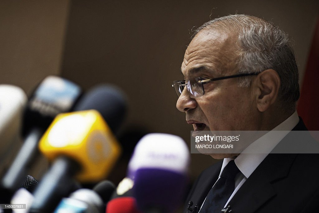 Egyptian presidential candidate and former prime minister Ahmed Shafiq speaks during a press conference in Cairo on May 26, 2012. Shafiq, ousted leader Hosni Mubarak's ex-premier who is set to face a Muslim Brotherhood candidate in a presidential run-off, pledged to restore the country's revolution.
