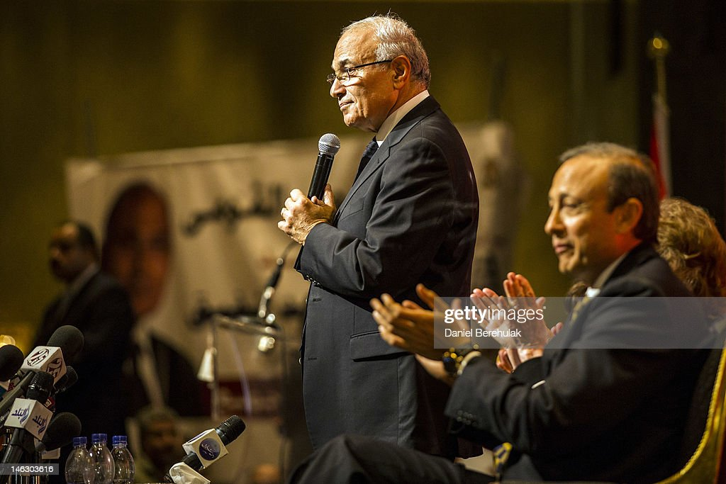 Egyptian presidential candidate and former Prime Minister, Ahmed Shafiq, speaks at a business conference on June 13, 2012 in Cairo, Egypt. Egyptian candidates Mohamed Morsi and Ahmed Shafiq are pegged against each other in the second round of voting for the country's president to be held on the 16th and 17th of June.