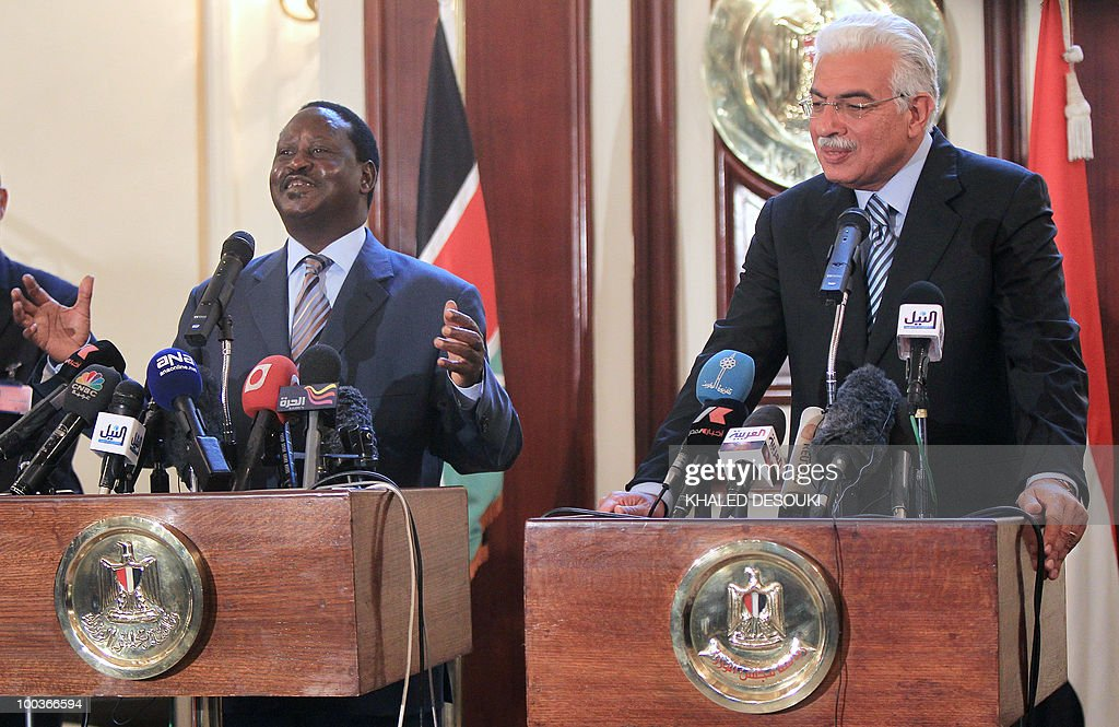 Egyptian Prime Minister Ahmed Nazef (R) and his Kenyan counterpart Raila Odinga hold a joint press conference after their meeting in Cairo on May 24, 2010. Odinga said that the Nile basin states would never threaten Egypt's water interests, after his country became the fifth to sign a water-sharing pact opposed by Cairo. The new pact was signed by Ethiopia, Kenya, Rwanda, Tanzania and Uganda for what is said to be an equitable sharing of the Nile's waters, despite strong opposition from Egypt and Sudan which currently enjoy the lion's share of the river. Egypt is now trying to engage in discussions to ensure it is not left out of a process that is vital to its future.