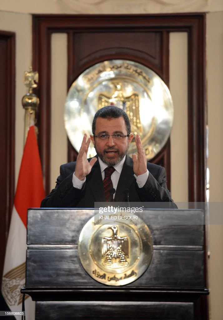Egyptian Prime Minister Hisham Qandil gives a press conference at his office in Cairo on December 30, 2012. During the conference Qandil said that Egypt wants to resume talks with the International Monetary Fund in January on a $4.8-billion loan frozen this month because of political tensions and unrest.