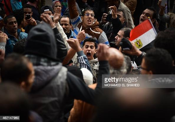 Egyptian protesters shout slogans during a demonstration against President Abdel Fattah alSisi and marking the fourth anniversary of the 2011...