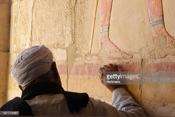 Egyptian Restoring Frescos in the Hatshepsut Temple