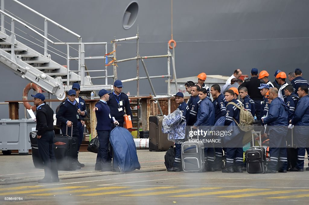 Egyptian sailors board the ENS Gamal Abdel Nasser, a French Mistral-class amphibious assault ship, for a one-week-training-session on May 6, 2016 in Saint-Nazaire, western France. The ENS Gamal Abdel Nasser, formly christened the Vladivostok, is one of two ships originally built for the Russian Navy by France which subsequently cancelled the contract following Russia's intervention in the Ukraine. France and Russia reached agreement on terms for cancelling the contract allowing France to keep the ships and fully reimburse Russia. VENANCE