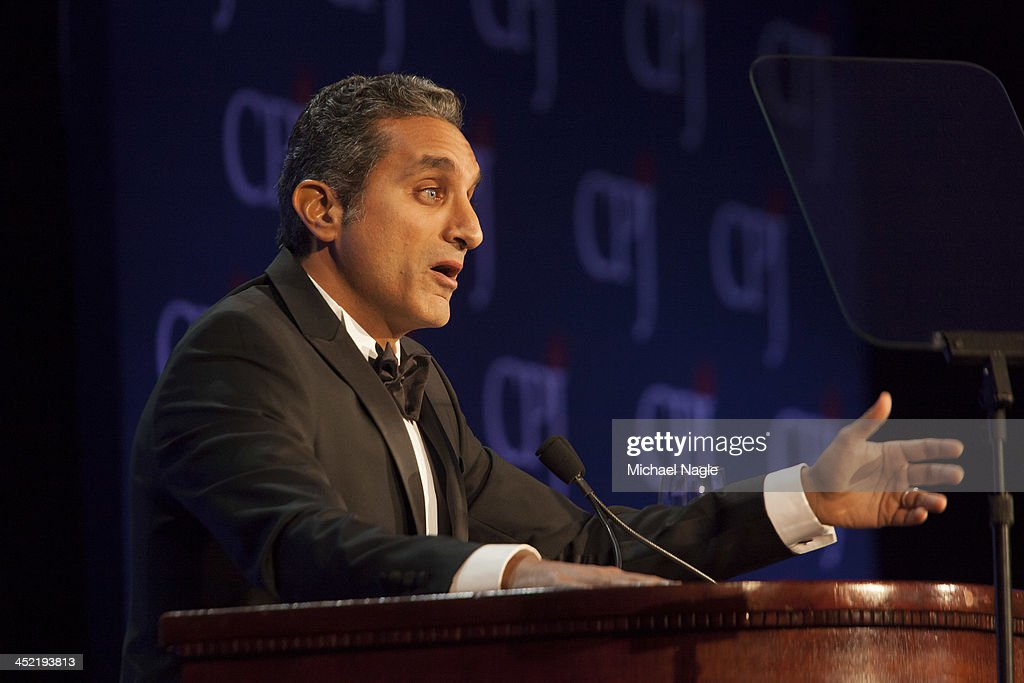 Egyptian satirist <a gi-track='captionPersonalityLinkClicked' href=/galleries/search?phrase=Bassem+Youssef&family=editorial&specificpeople=9660617 ng-click='$event.stopPropagation()'>Bassem Youssef</a> speaks at the Committee to Protect Journalists' International Freedom Awards after accepting an award at the Waldorf Astoria on November 26, 2013 in New York City. The annual awards ceremony recognizes journalists who risk their lives and liberty defending press freedom.