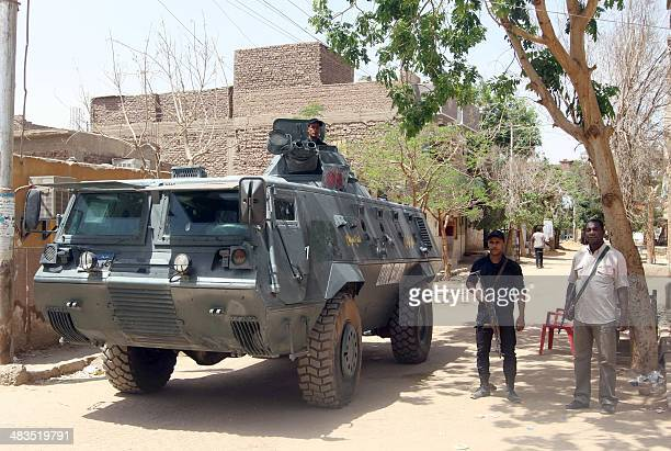 Egyptian security forces keep watch in alSael alRifi in the district of the southern Egyptian city of Aswan on April 8 2014 following tribal clashes...