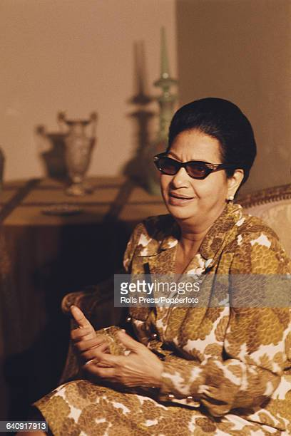 Egyptian singer and actress Umm Kulthum pictured during an interview in Cairo Egypt on 31st May 1970