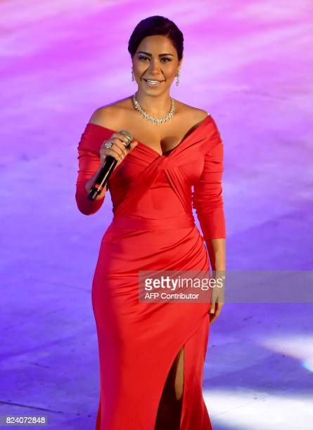 Egyptian singer Shirine Abdelwahab performs during the 53 session of international Festival at the Roman Theatre in Carthage on July 28 2017 BELAID