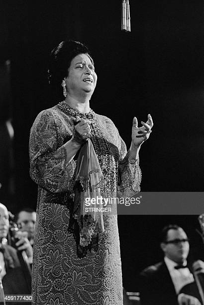 Egyptian singer Umm Kulthum performs on November 14 1967 at the Olympia concert hall in Paris AFP PHOTO