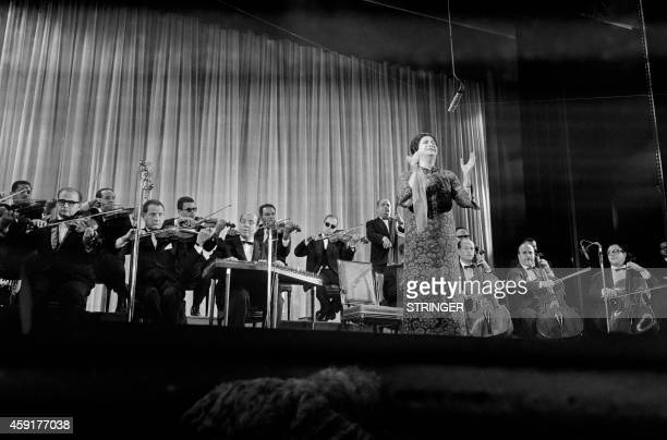Egyptian singer Umm Kulthum performs on November 16 1967 at the Olympia concert hall in Paris AFP PHOTO