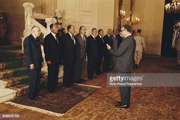 Egyptian statesman Anwar Sadat 2nd from left takes part in a swearing in ceremony in Cairo to become President of Egypt in October 1970 shortly after...