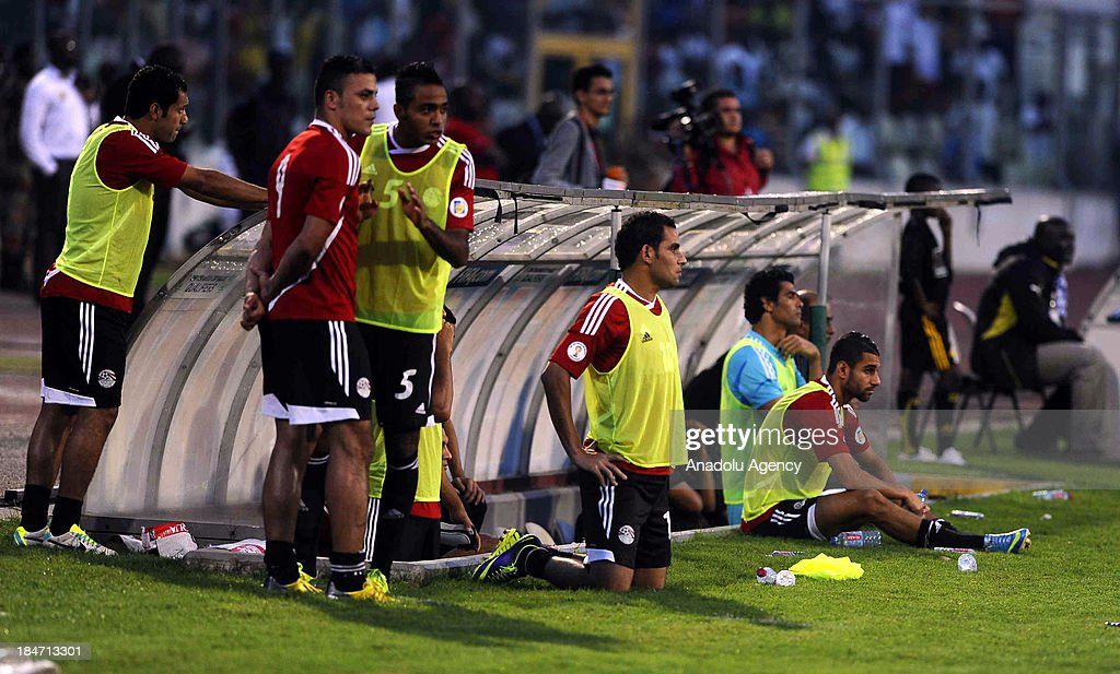 Egyptian substitutes during the 2014 World Cup African qualifying first leg play-off match between Ghana and Egypt on October 15, 2013 at Baba Yara Stadium in Kumasi of Ashanti, Ghana.