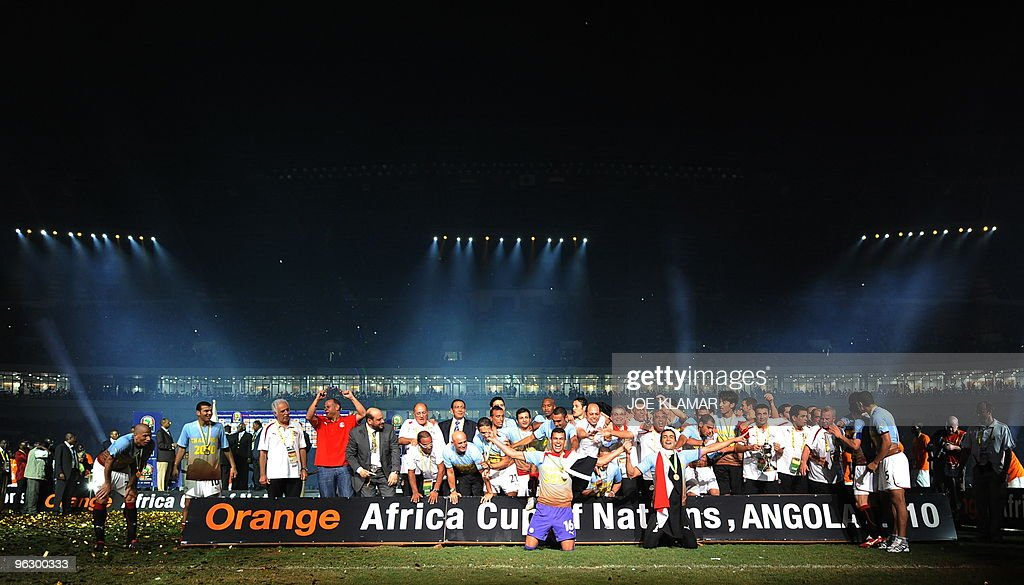 Egyptian team players celebrate their victory during the final match between Egypt and Ghana during African Cup of Nations football championships...