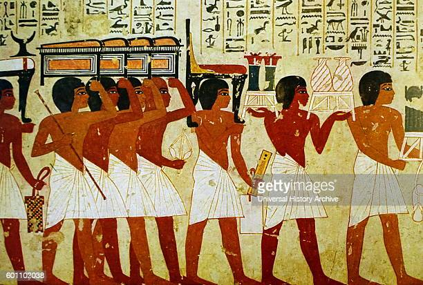 Egyptian tomb wall painting from Thebes Luxor Dated 11th Century BC
