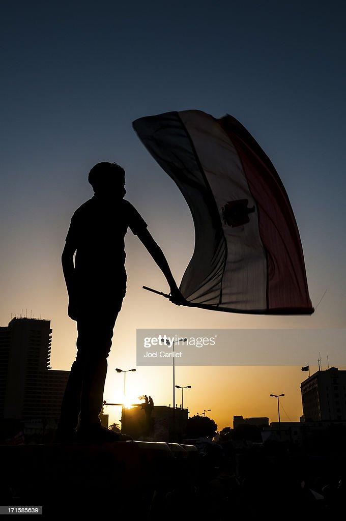 Egyptian waving flag in Tahrir Square