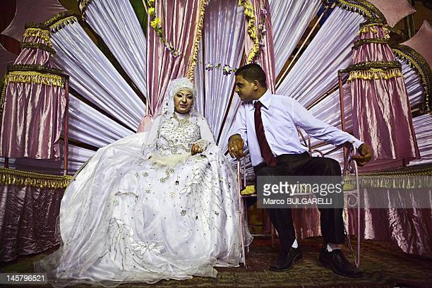 Egyptian wedding the couple posing for the photo on July 7 2011 in Cairo Egypt