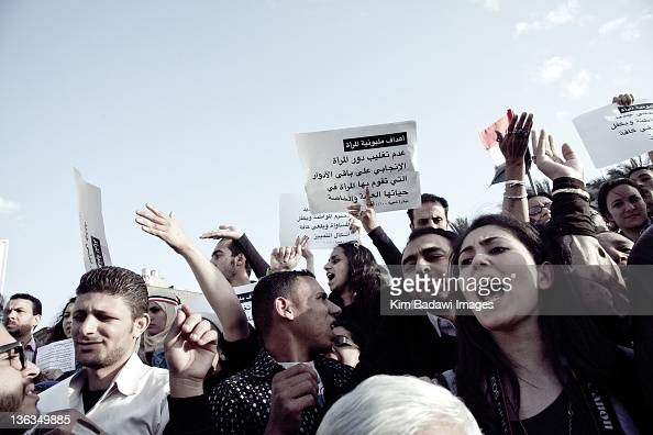 Egyptian woman are silenced at the Million Women's March on March 9 2011 in downtown Cairo Egypt
