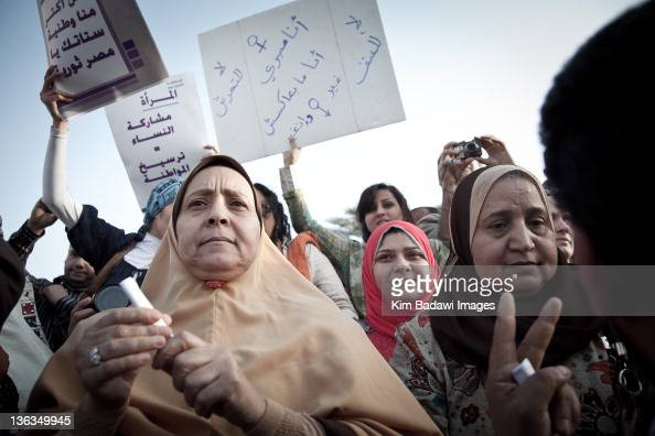 Egyptian women argue with men about human rights at the Million Women's March on March 9 2011 in downtown Cairo Egypt