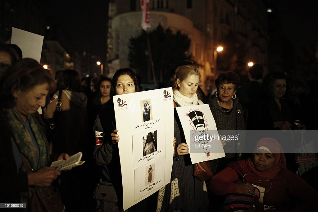 Egyptian women take part in a march against sexual harassment at Talat Harb Square, on February 12, 2013 in central Cairo, Egypt. A few hundred Egyptian men and women gathered at the Egyptian capital's Talat Harb Square on Tuesday to demonstrate against the continuing problem of sexual harassment of Egyptian and foreign women during demonstrations across Egypt. (Photo by Ed Giles/Getty Images).
