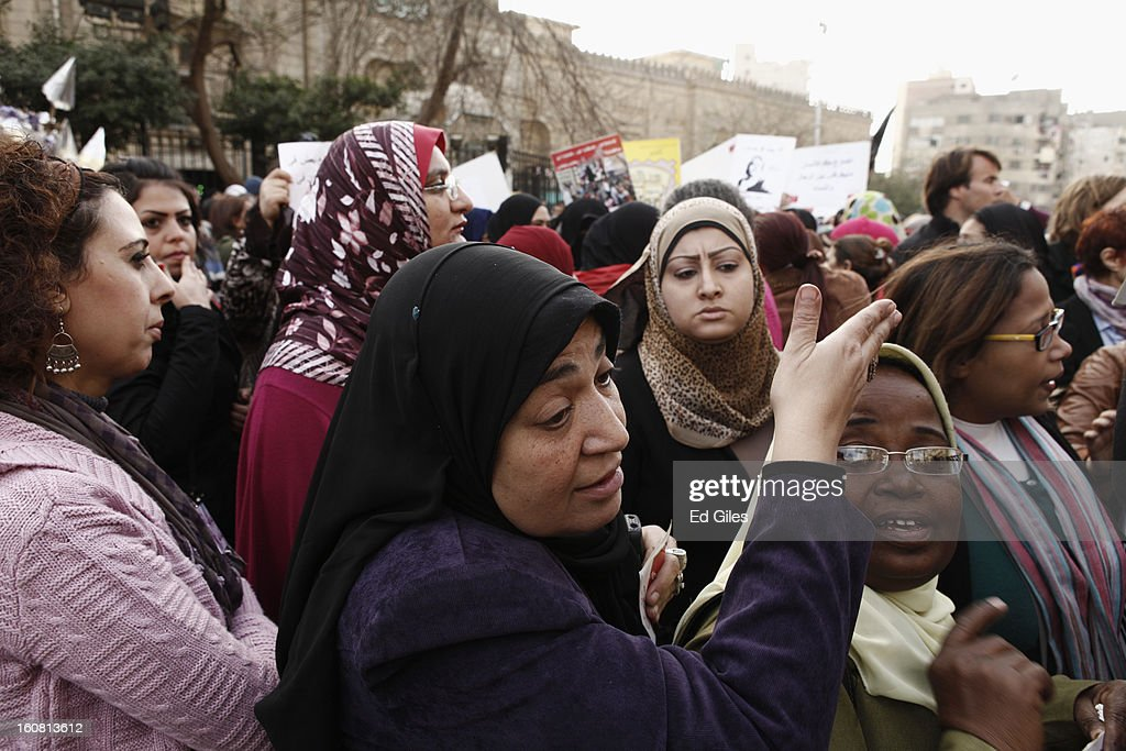 Egyptian women take part in a march against sexual harassment at the Seiyda Zeinab Mosque, on February 6, 2013 in Cairo, Egypt. Around a thousand Egyptian men and women marched through the Egyptian capital to the city's iconic Tahrir Square on Wednesday to demonstrate against the continuing problem of sexual harassment of Egyptian and foreign women during protests across Egypt. (Photo by Ed Giles/Getty Images).