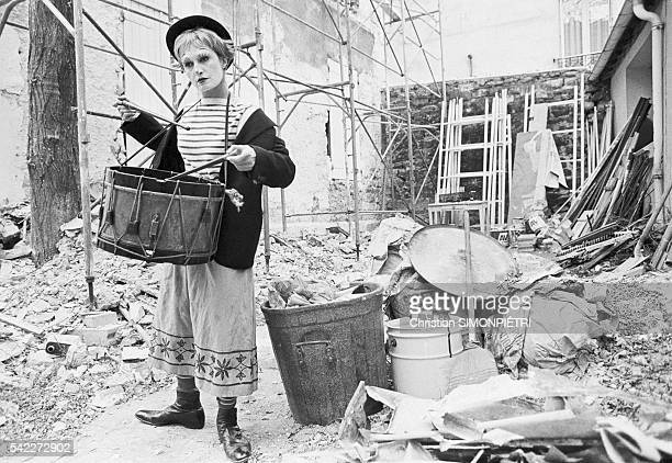 Egyptianborn Italian singer Dalida dressed as the sad clown Gelsomina a character originally played by Giulietta Masina in the 1954 film La Strada...