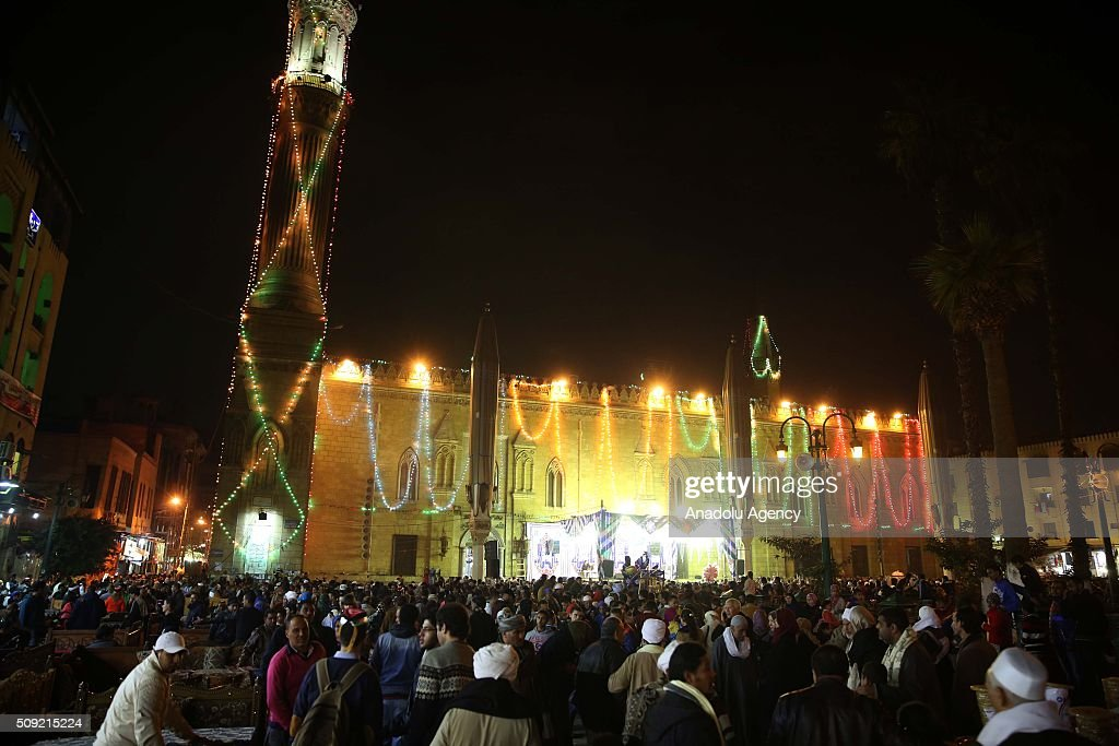 Egyptians attend Mawlid Al Hussein, a Sufi gathering which commemorates the birth of the Muslim Prophet Muhammad's grandson, in Cairo, at the al-Hussein mosque in Egypt on February 9, 2016. The celebration attracts thousands of Muslims from all over the country to the mosque and shrine named for him.