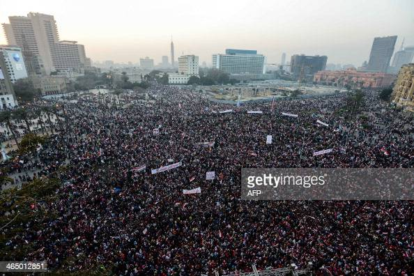 Egyptians gather in Cairo's Tahrir Square during a rally marking the anniversary of the 2011 Arab Spring uprising on January 25 2014 A spate of...