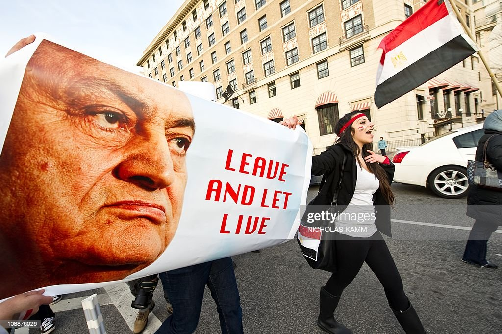 Egyptians march from the White House to the Capitol during a demonstration in support of Egypt's uprising against President Hosni Mubarak in Washington on February 4, 2011. The Egyptian opposition's 'day of departure' for Mubarak ended at midnight with the embattled president refusing to transfer power amid a rising tide of international calls for him to stand down. AFP PHOTO/Nicholas KAMM