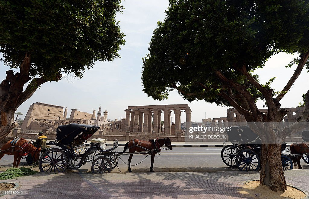 Egyptians wait with their horse and carriages for tourist outside Luxor temple, in the Egypt's ancient temple city on February 27, 2013, a day after a hot air balloon exploded and plunged to earth near the city during a sunrise flight, killing up to 19 tourists, including Asians and Europeans, sources said. An initial probe into the hot air balloon crash has ruled out any criminal activity as a cause of the accident, state media said.