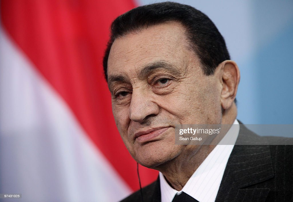 Egyption President Hosni Mubarak speaks to the media following talks with German Chancellor Angela Merkel at the Chancellery (Bundeskanzleramt) on March 4, 2010 in Berlin, Germany. Mubarak is on a one-day official visit to Germany.