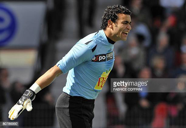 Egypt's African Nations Cup winning goalkeeper Essam ElHadary reacts during his first ever football game of the Swiss Super League NeuchatelXamax...