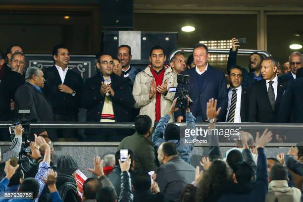 Egypt's Al Ahly president backs the team for the first time after the inauguration of Al Ahli club during the Egypt Primer League Fixtures 9 match...