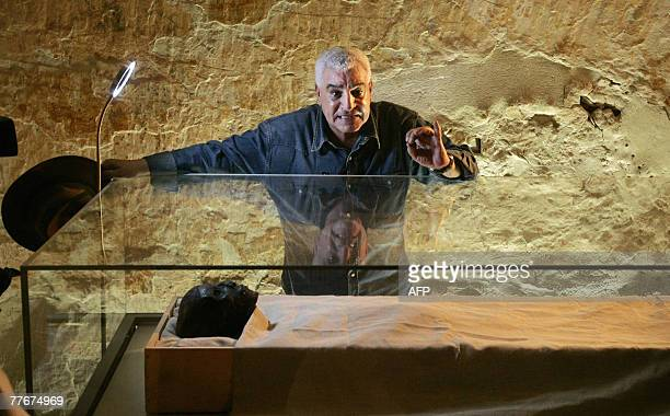 Egypt's antiquities chief Zahi Hawass speaks to the media over the linenwrapped mummy of King Tutankhamun in his underground tomb in the famed Valley...