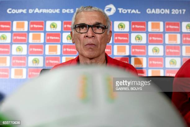 Egypt's Argentinian coach Hector Raul Cuper attends a press conference in Libreville on February 4 2017 on the eve of the final of the 2017 Africa...