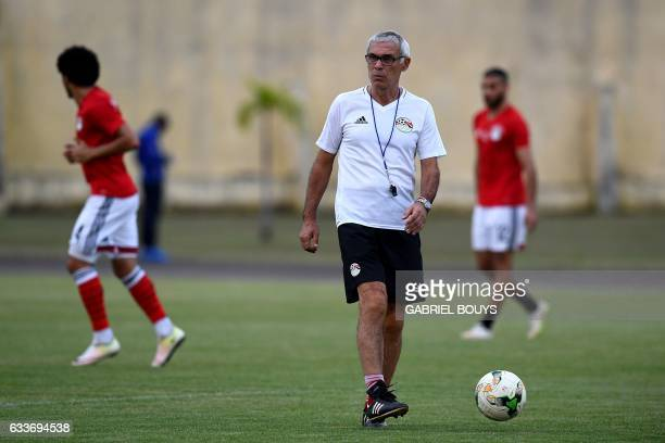 Egypt's Argentinian coach Hector Raul Cuper controls the ball during a training session in Libreville on February 3 2017 two days ahead of the final...