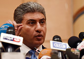 Egypt's Civil Aviation Minister Sherif Fathy holds a press conference on the hijacked EgyptAir flight which was diverted to Cyrus on March 29 in...
