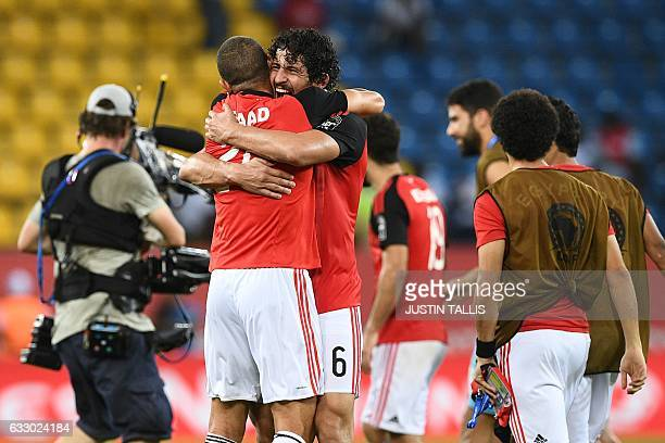 Egypt's defender Ahmed Hegazy celebrates with Egypt's defender Saad Samir at the end of the 2017 Africa Cup of Nations quarterfinal football match...