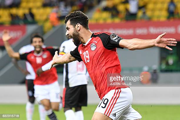 TOPSHOT Egypt's forward Abdallah Said celebrates after scoring a goal during the 2017 Africa Cup of Nations group D football match between Egypt and...