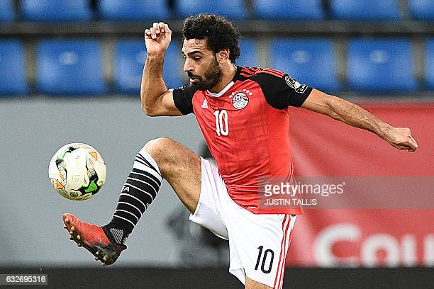 Egypt's forward Mohamed Salah controls the ball during the 2017 Africa Cup of Nations group D football match between Egypt and Ghana in PortGentil on...