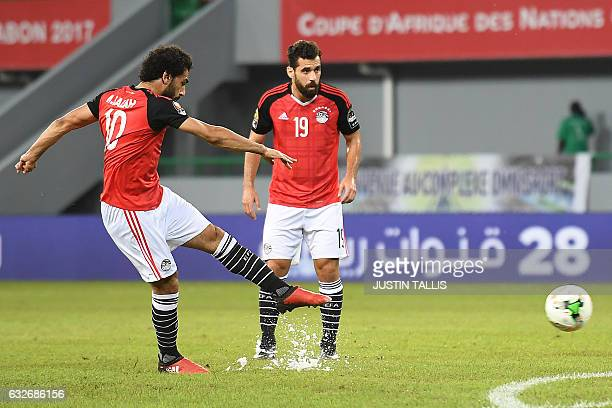 Egypt's forward Mohamed Salah takes a free kick to score a goal during the 2017 Africa Cup of Nations group D football match between Egypt and Ghana...