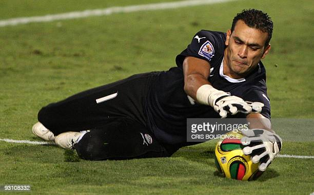 Egypt's goalkeeper Essam alHadary catches the ball during their 2010 World Cup African zone group C qualifying football match against Algeria in...