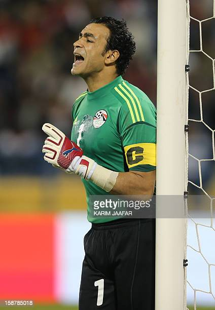 Egypt's goalkeeper Essam alHadary reacts during his friendly football match against Qatar in the Qatari capital Doha on December 28 2012 Egypt won 20...
