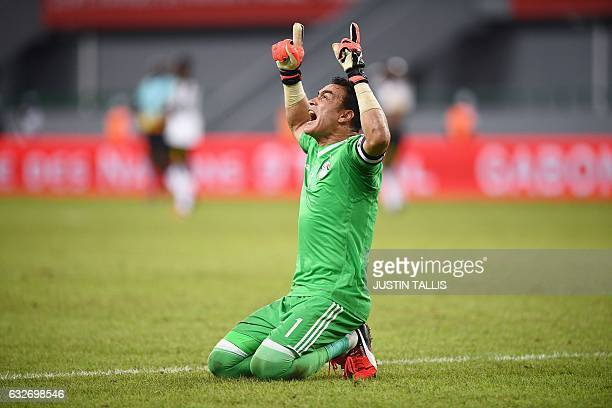 Egypt's goalkeeper Essam ElHadary celebrates at the end of the 2017 Africa Cup of Nations group D football match between Egypt and Ghana in...