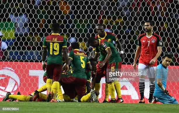 Egypt's goalkeeper Essam ElHadary looks back as Cameroon players celebrate their goal during the 2017 Africa Cup of Nations final football match...