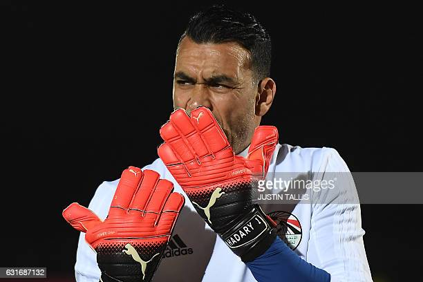 Egypt's goalkeeper Essam ElHadary takes part a training session in PortGentil on January 14 during the 2017 Africa Cup of Nations football tournament...