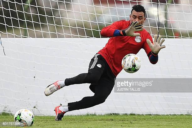 Egypt's goalkeeper Essam ElHadary takes part in a training session in PortGentil on January 15 during the 2017 Africa Cup of Nations football...